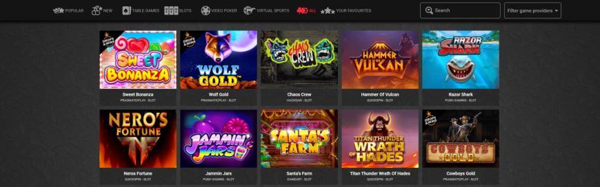 RoyalRabbit Casino spiludvalg