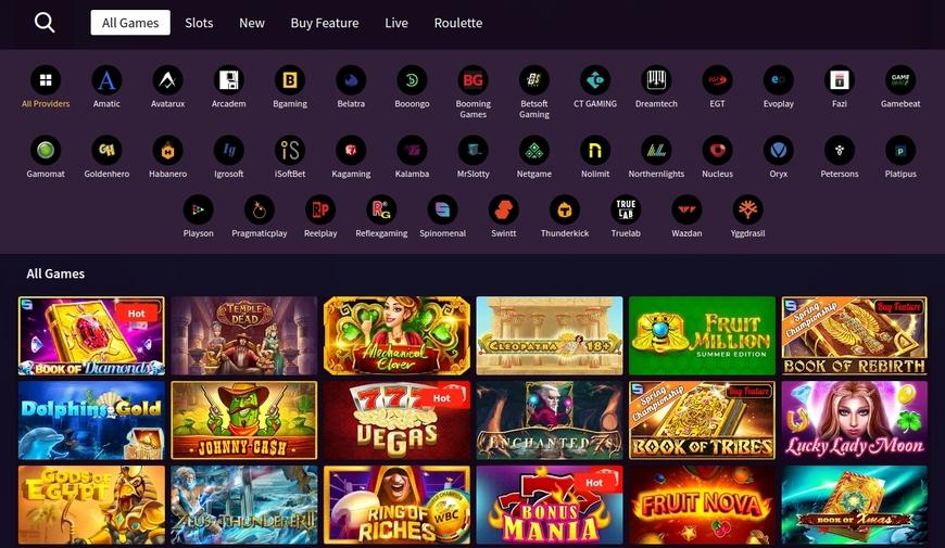 Spiludvalg hos Wild Blaster Casino